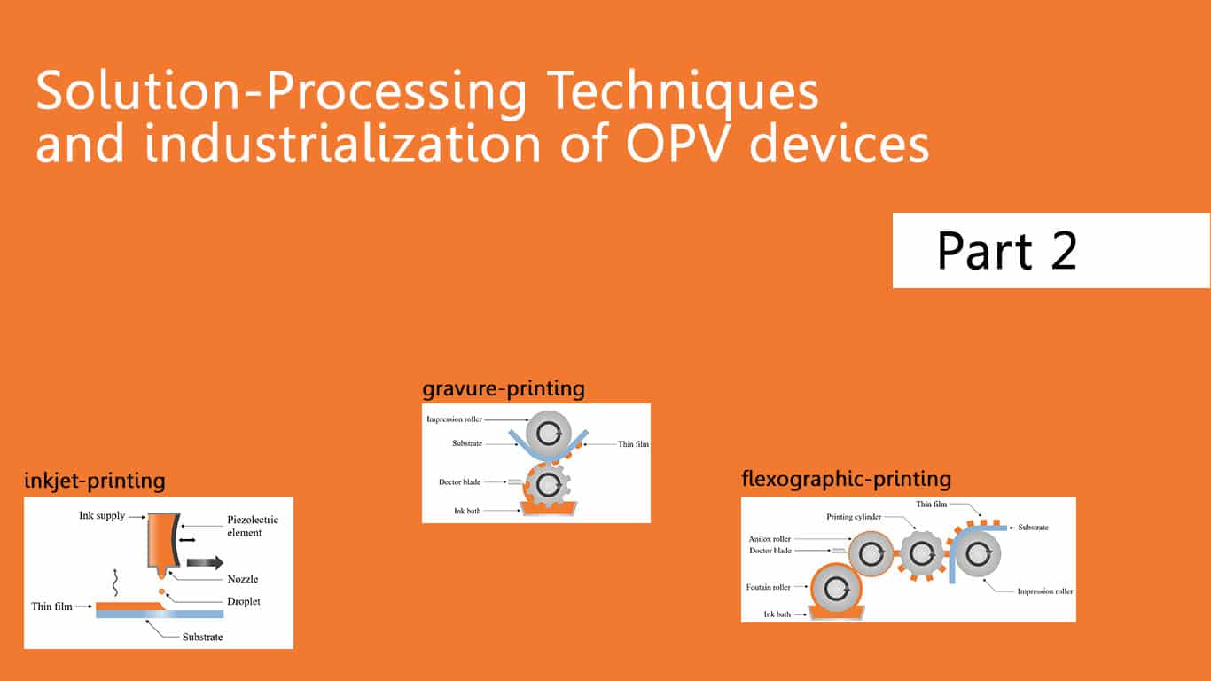 Thin Film Processing Method: from lab to Industrialization of OPV Devices (2nd part)